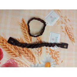 Bracelet tressé en cuir marron foncé
