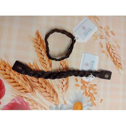 Bracelet tressé en cuir marron foncé de Petite maroquinerie
