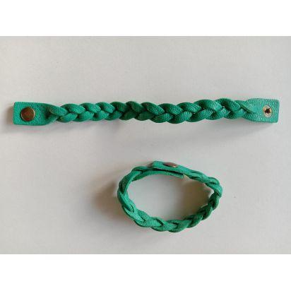 Bracelet tressé en cuir vert turquoise de Petite maroquinerie