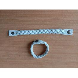 Bracelet tressé en cuir blanc cassé