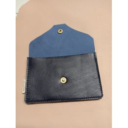 Porte monnaie et porte carte en cuir d'agneau bleu marine