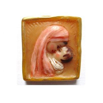 Médaillon carré rose saumon de La Vierge Marie