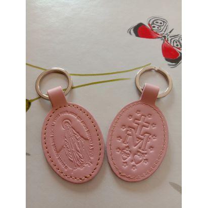 Porte-clés en cuir rose pâle avec motif médaille miraculeuse de Petite maroquinerie