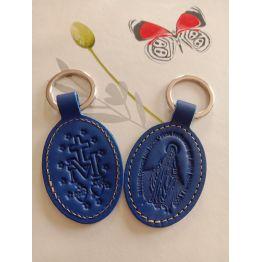 Porte clés en cuir bleu foncé motif médaille miraculeuse