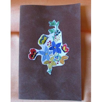 """Carte brodée \\""""Fleurs sur velours\\"""" de Cartes de la Nature"""
