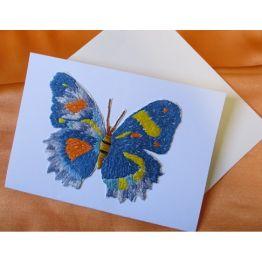 """Carte brodée \\""""Papillon\\"""" de Cartes de la Nature"""