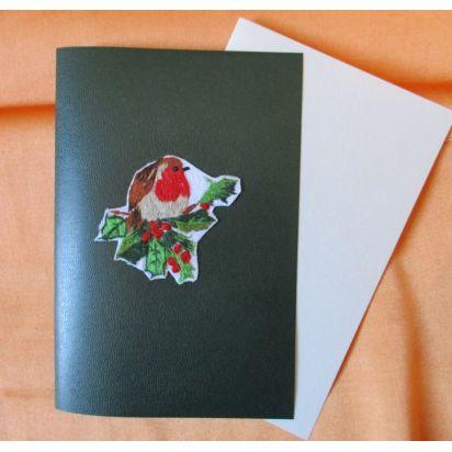 """Carte brodée \\""""Rouge gorge\\"""" de Cartes de la Nature"""