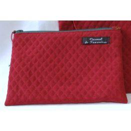 Pochette doublée Rouge zip vert