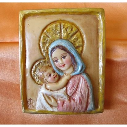 """Icône en cire \\""""Vierge à l'Enfant\\"""" de Icônes"""
