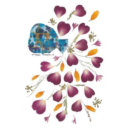 carte fleurs naturelles séchées, un vase de coeurs de Carterie