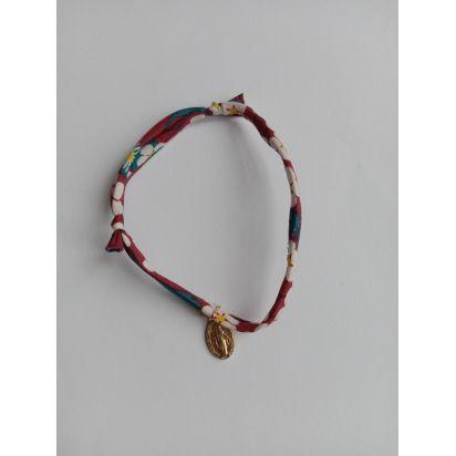 Bracelet liberty bordeaux avec médaille Miraculeuse de Médailles