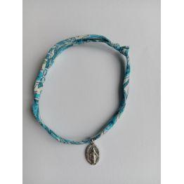 Bracelet liberty bleu médaille miraculeuse