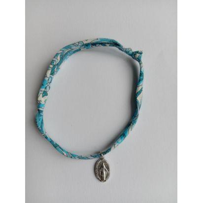 Bracelet liberty bleu avec médaille miraculeuse de Médailles