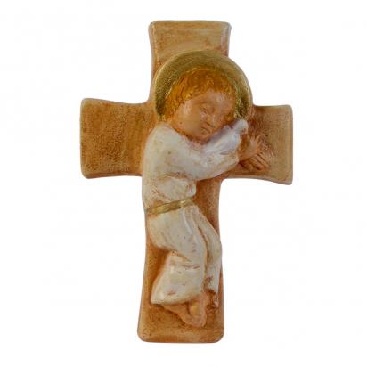 Enfant-Jésus sur croix polychrome de La Communion