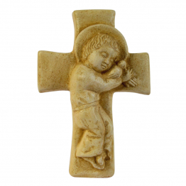 Enfant-Jésus sur croix patiné
