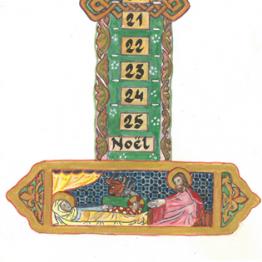 Bougie d'Avent décorée avec une Nativité