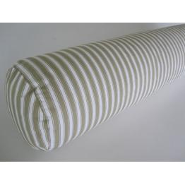 Traversin naturel plume rayé gris 140 cm