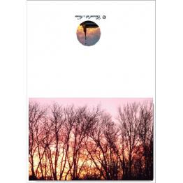 Carte nature en photographie coucher de soleil associant ciel et terre par les arbres Artisanat monastique